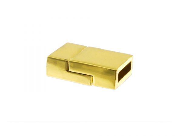 Magnetverschluss zum Einkleben, 13mmx20mm, 6.5mm dick, innen 3x10mm. vergoldet