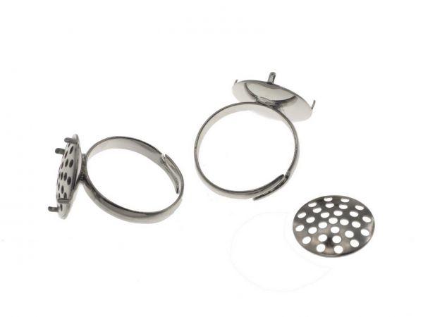 Ring Rohling mit Sieb 15mm rhodiumfarbig