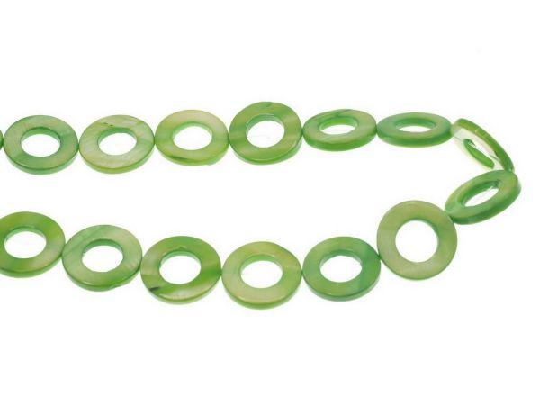 Perlmutt Rund 20mm Strang ca. 40cm, ca. 18 Stck olive