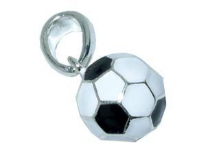CB-Sportsfashion Anhänger versilbert, Fussball 12mm schwarz/weiss