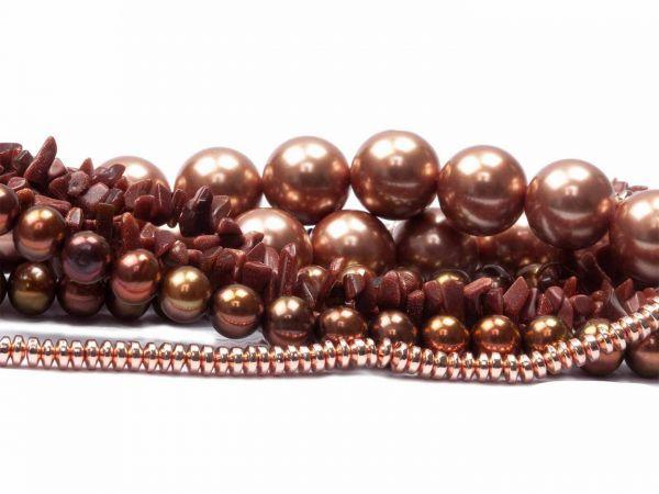 Perlenmischung Edelsteinperlen Muschelkern- Süsswasserperlen, 4 Stränge über 300 Perlen braun/kupfe