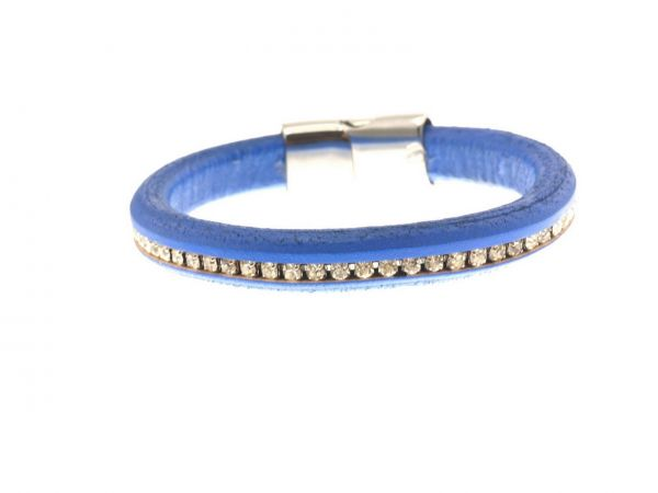 Lederarmband, 10mm Nappaleder, mit 4mm Strass, ca.21cm, Edelstahl Magnetverschluss, blau