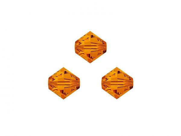 Swarovskiperlen, Doppelkegel, konisch, 5328, 4mm tangerine