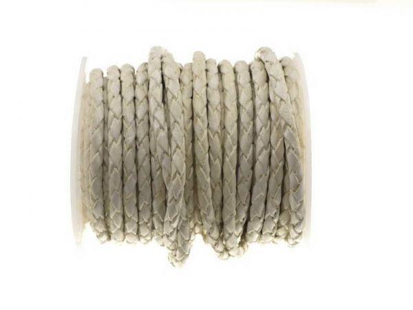 Lederschnur geflochten (Bolaleder), 4mm, Rolle 10m, creme-weiss