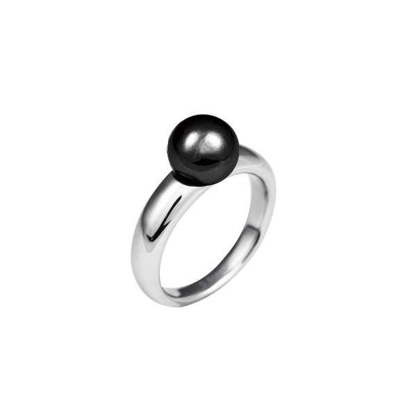 Perle für Edelstahl Wechselring, schwarz glänzend