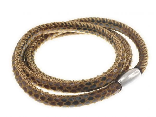 Slide-it Snake Kunstlederarmband, rund, 3fach, braun