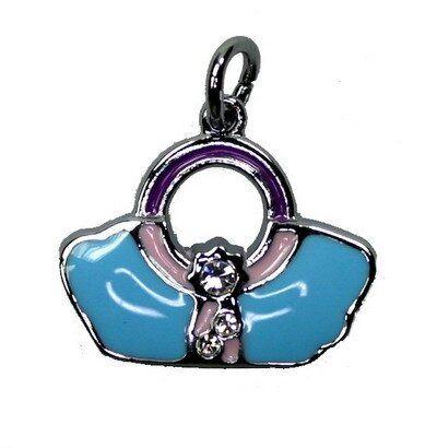 Anhänger Handtasche blau/rosa 19x19mm