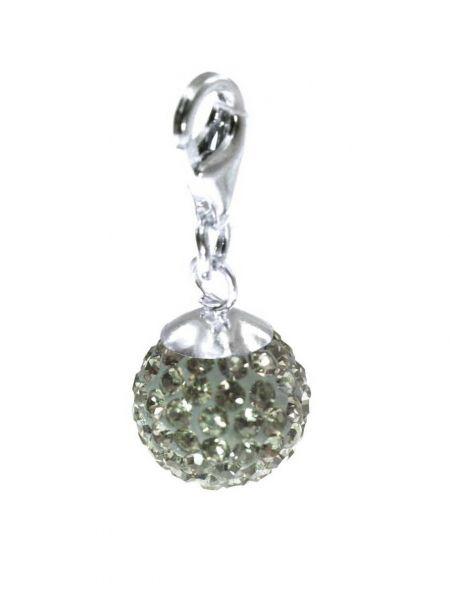 Anhänger 'Diamondball' 14mm mit Sterlingsilber Karabiner, black diamond