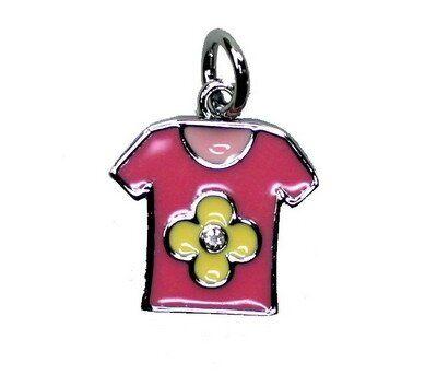 Anhänger Shirt rosa-gelb 16x19mm