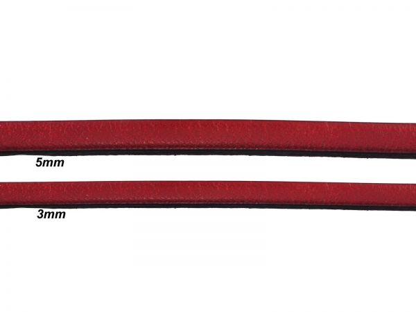 Lederschnur, flach, 3mm breit, 1mm dick, rot
