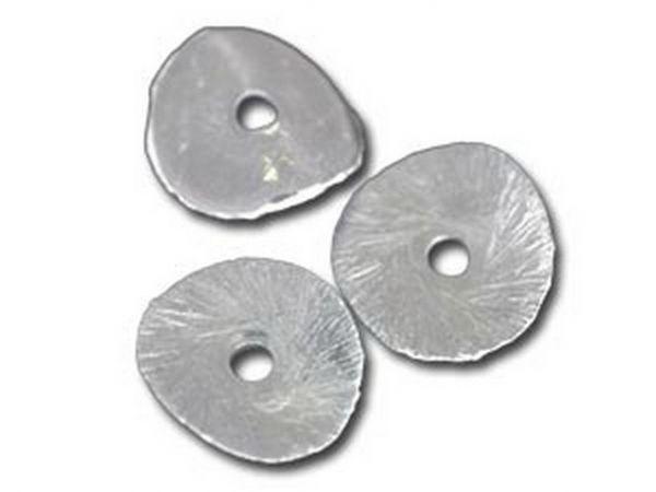100 Stück Silbereffekt Element Scheibe gewellt 10mm, Bohrung 1.2mm