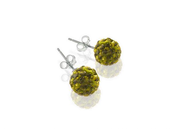 Diamondballs Ohrstecker 6mm Sterlingsilber, olive