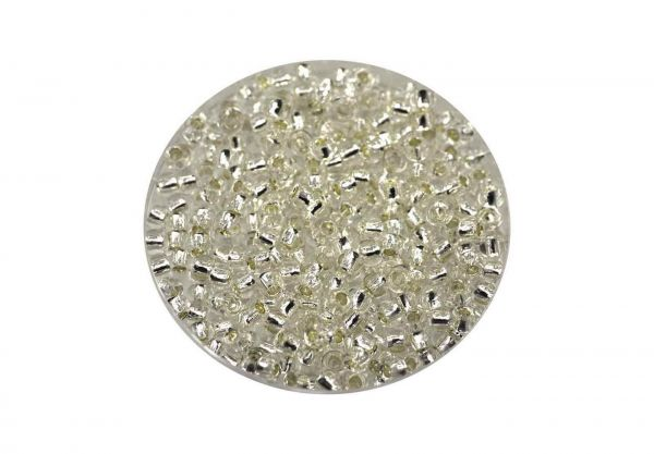 Toho Rocailles 8-0, 3mm, 14gr.,Silver-Lined Crystal TR08-21