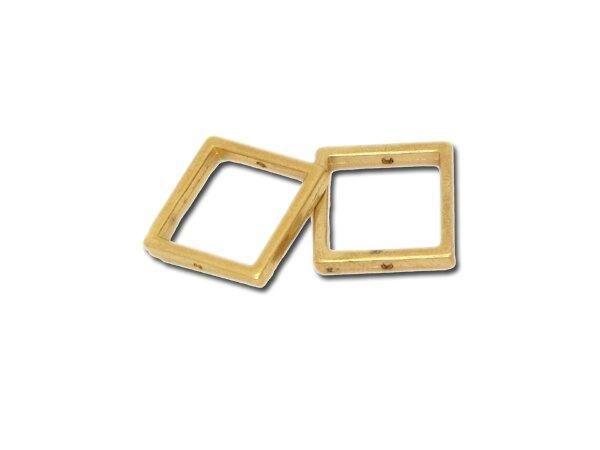 25 Stück Metallzierteill quadrat ca.16mm, goldfarbig