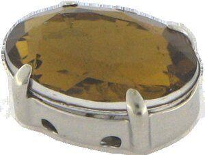 Acrylstein gefasst ,oval 10x14mm smoke topas