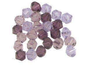 Swarovskiperlen-Mischung 4mm lila-grau Inhalt 30St.