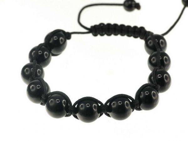 Glitzerkugel Armband schwarz, mit 11 Onyx Perlen, 12mm