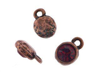 Anhänger antikkupfer rund 10mm m. Swarovski Crystal siam