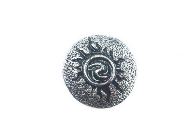 Click-it Button Sonne, 18 mm, Silver-Black