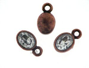 Anhänger antikkupfer oval 9x7mm m. Swarovski Crystal crysta