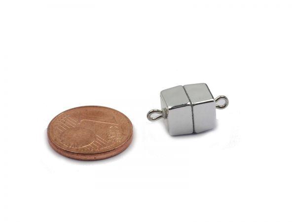Magnetverschluss Powerclip DE, Würfel 7mm, silber matt