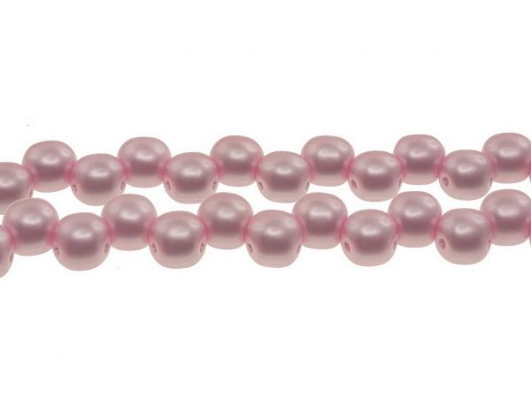 Glasperle double, 6mm, 2 Bohrungen, Strang 50Stück, glänzend, pastell rosa