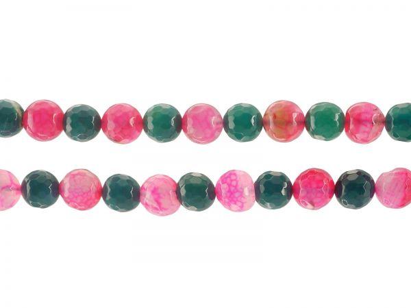 Achat gefärbt, Perle 10mm, facettiert, Strang ca. 40cm, ca.38Stk., pink/petrol