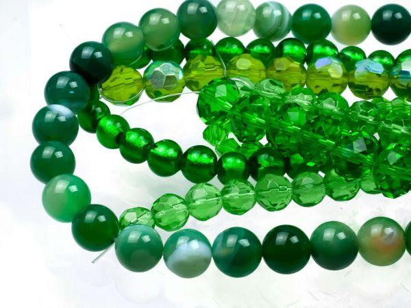 Glasperlenmischung Schlifffperlen, achatperlen, grün, 5 Stränge, mehr als 200 Perlen 6-12mm Durchme