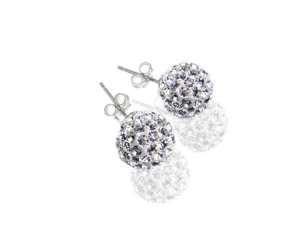 Diamondballs Ohrstecker, 8 mm, Sterlingsilber, crystal