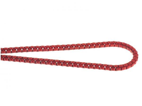 Schmuckkette color, eckig ca.2mm, messing, 1m, rot