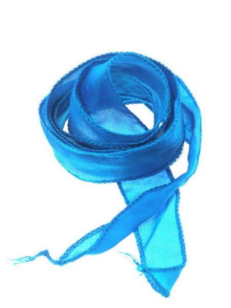 "Seidenband ""Silky"" handcoloriert, Habotai Seide, ca.20mm breit, ca.1,00m, wasserblau"
