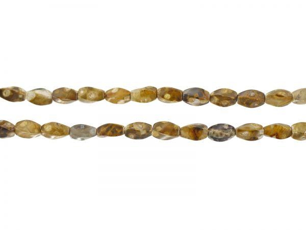Achat gefärbt, Olive ca.12x6mm, Strang ca.40cm, ca.32Stck, brauntöne