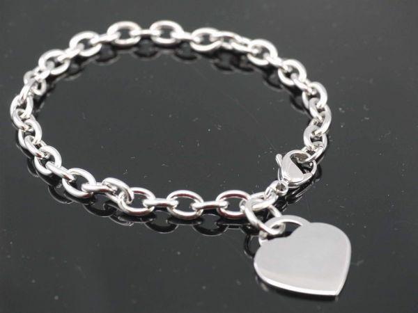 Edelstahl Gliederarmband mit Herz, ca. 21cm