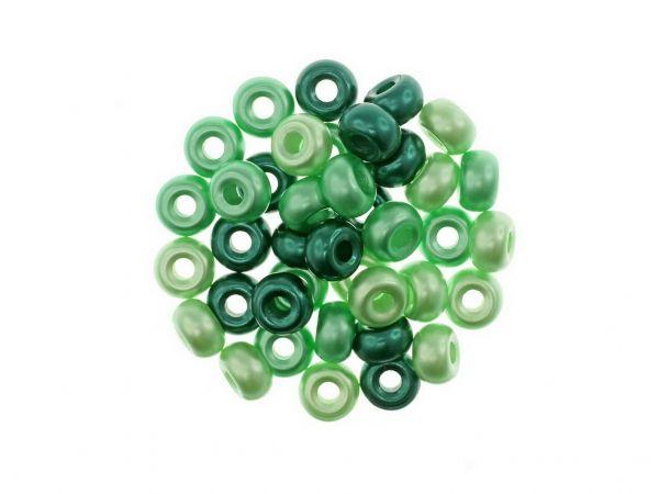 Glasperlen Ponybeads, 9x5mm, 39 St. Colormix grün