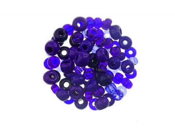 Rocailles Glasperlen Mischung 5-6mm, kobaltblau ca 50g