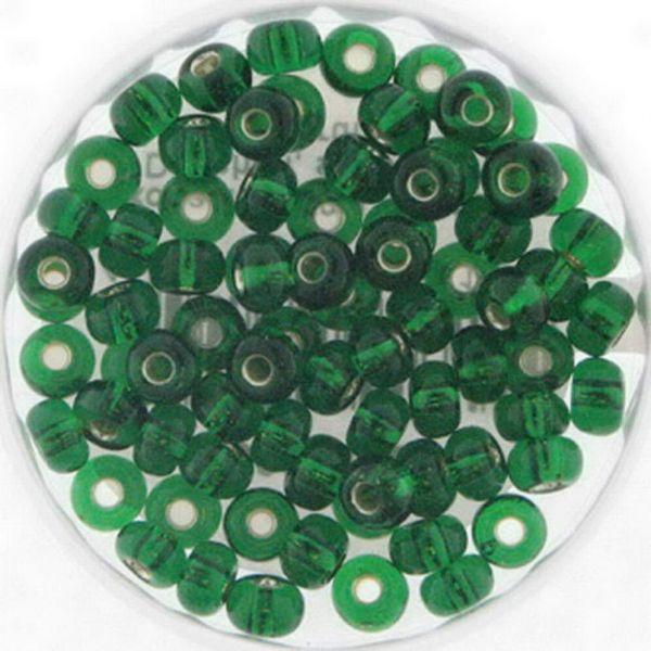 Rocailles 6/0 4mm 15 gr. Döschen, silbereinzug grün