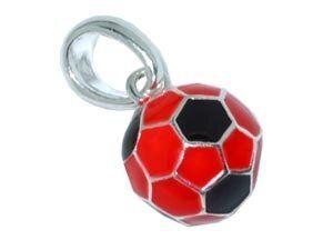 CB-Sportsfashion Anhänger versilbert, Fussball 12mm schwarz-rot