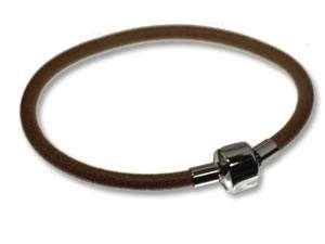 Lederarmband 4mm, mit Edelstahl-Klappverschluss f. Beads, ca. 20 cm, braun