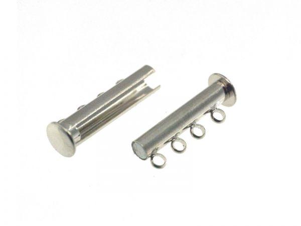 Magnet Armbandverschluss 4reihig, 30x10x6mm, rhodiumfarbig