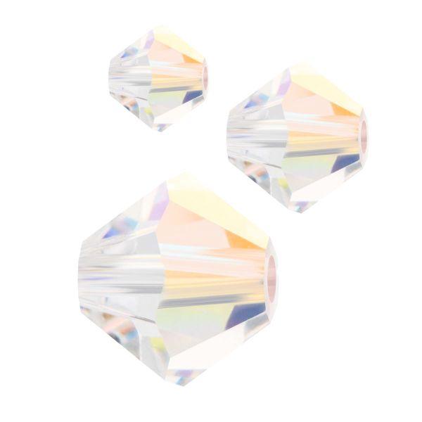 Preciosa Kristall Doppelkegel 6mm 20St., crystal AB 2x