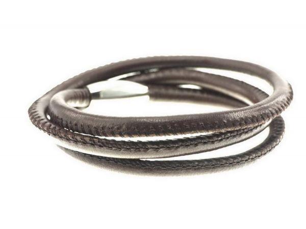 Lederarmband, 5mm Leder, gesäumt, 3fach ca.19,5cm, Edelstahl Magnetverschluss, braun