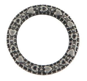50 Stück Metallzierteil Ring rund 14mm antiksilber