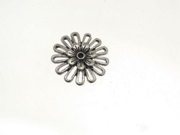 25 Stück Blume klein,antikversilbert, ca.15mm