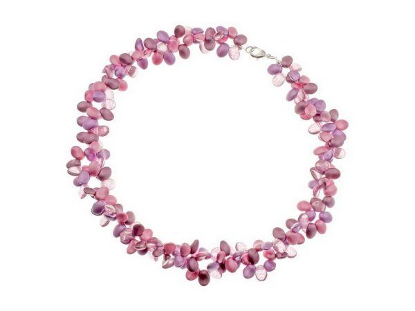 """Glasperlencollier """"Lilliy"""" 43cm +5cm Regulation, rosa-violett"""