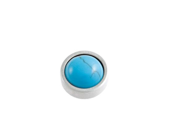 RingIT Zubehör Top versilbert 12mm mit Perle türkis