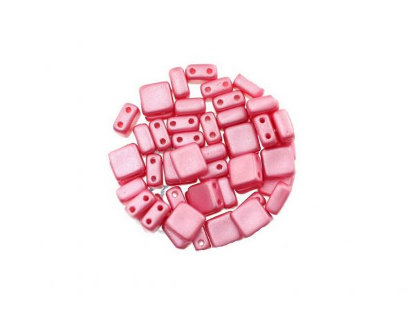 "Glasperle ""Quadro"", 2Bohrungen, 6mm, 50 St. Dose, rosa"