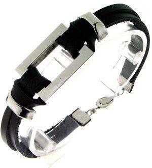 Edelstahl Armband, 20,5cm, Rechteck 26x20mm, Stahl/Wildleder. silber/schwarz