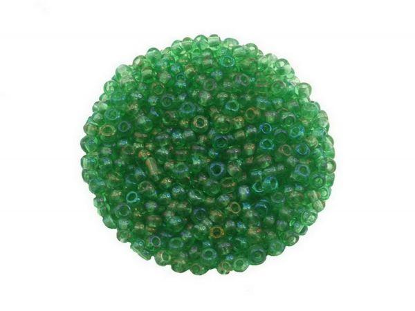 Rocailles, 9/0, 2.6mm, Rainbowlüster, 50 g Beutel, grün
