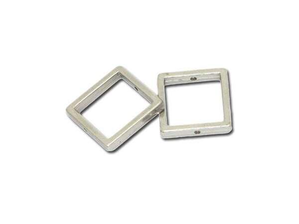 Metallzierteill quadrat 18mm, versilbert