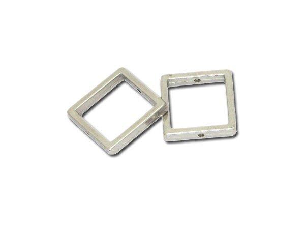 50 Stück Metallzierteill quadrat 18mm, versilbert